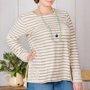 Matilda Jane Striped Lace Tunic Off White